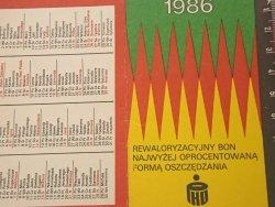 REWALORYZACYJNY BON... KALENDARZYK 1986