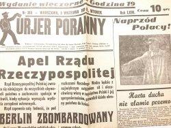 KURJER PORANNY NR 30A WARSZAWA, 5 WRZEŚNIA 1939 R., WTOREK ROK LXIII REPRINT