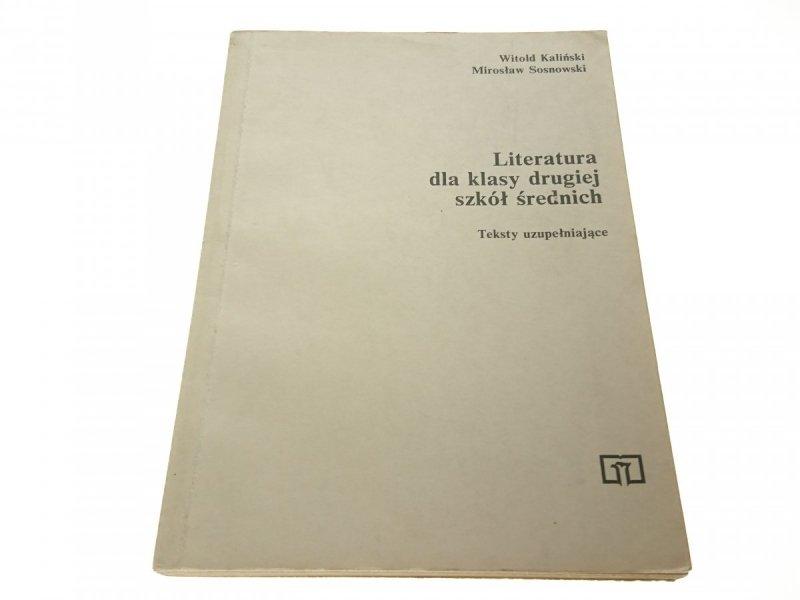 LITERATURA DLA KLASY DRUGIEJ SZKÓŁ ŚREDNICH