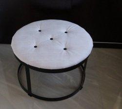 Puf metalowy - tapicerowany -  okrągły  2