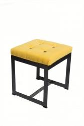 Puf metalowy - tapicerowany -  kwadrat