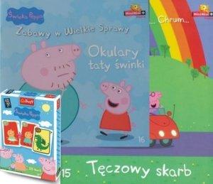 Świnka Peppa zestaw 2 książek + karty Piotruś (Okulary taty świnki, Tęczowy skarb)