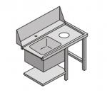 Stół załadowczy do zmywarki z komorą zlewozmywaka i otworem na odpadki COOKPRO 450020003 450020003