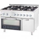 Kuchnia gazowa 6 palnikowa z piekarnikiem elektrycznym 32.5kW (zestaw) - G30