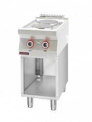 Kuchnia elektryczna 2 płyty okrągłe 2x2,6kW na podstawie szafkowej otwartej  KROMET 700.KE-2.S LINIA 700