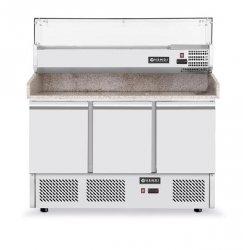 Stół chłodniczy do pizzy 3-drzwiowy z nadstawą i blatem granitowym HENDI 232033 232033