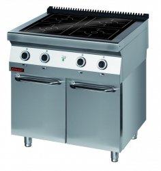Kuchnia indukcyjna 900 mm 4x5,0kW na podstawie szafkowej zamkniętej  KROMET 900.KE-4i/900.S.D LINIA 900