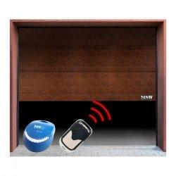 Brama garażowa z napędem - segmentowa - 3000 x 2125 mm - czarny orzech - łańcuch MSW 10060206 GD3000-S black walnut