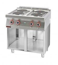 Kuchnia elektryczna 4 płyty okrągłe 4x2,6kW na podstawie szafkowej otwartej  KROMET 700.KE-4.S LINIA 700