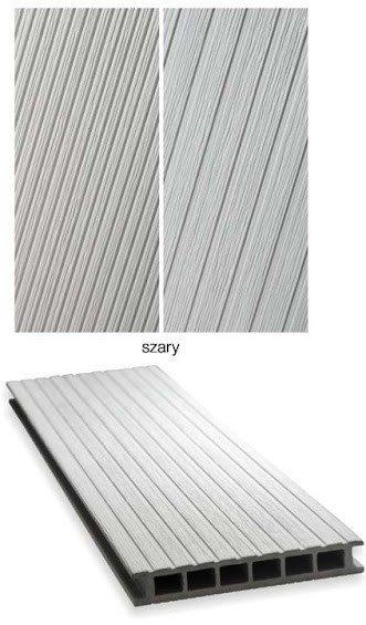 Deska tarasowa GAMRAT - kompozytowa ryflowana 25x160x4000 jasny szary Wersja L