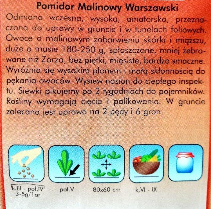 Pomidor Malinowy Warszawski nasiona Plantico