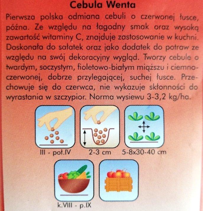 Cebula czerwona WENTA nasiona Plantico opakowanie