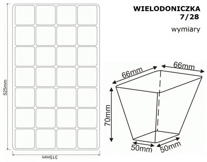 Wielodoniczka 7/28 wymiary