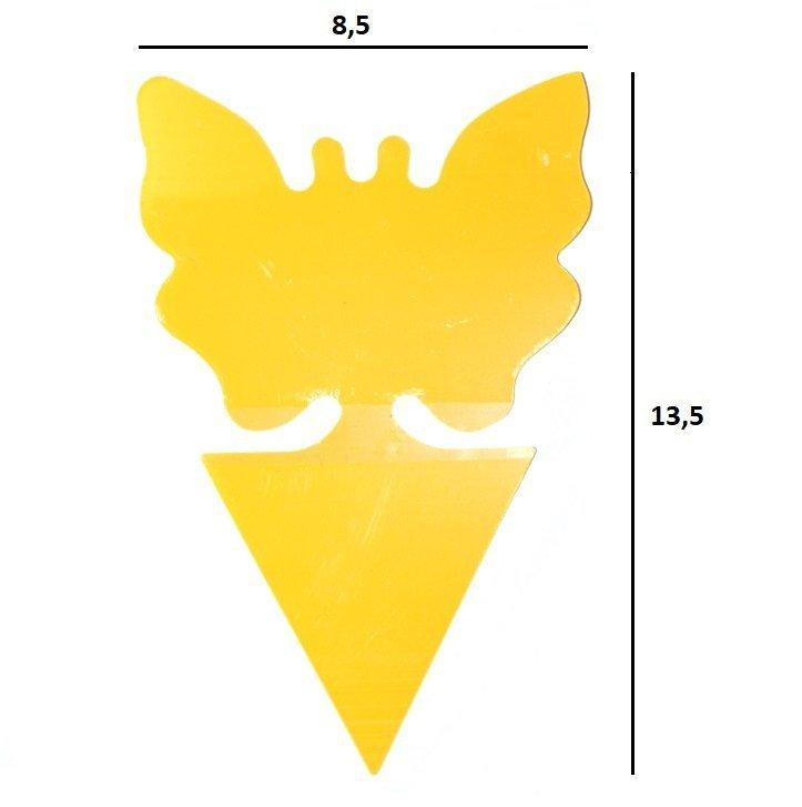 Żółty motylek lepowy zwymiarowany