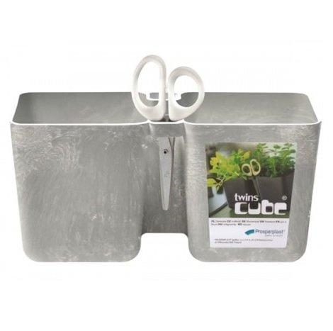 Doniczka na zioła Twins Cube beton