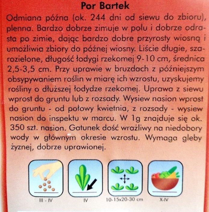Por Bartek opakowanie nasion