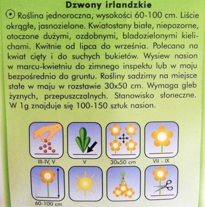 Dzwony irlandzkie nasiona Plantico