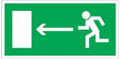 Znak Kierunek do Wyjścia Drogi Ewakuacyjnej (w lewo) 150x300
