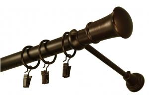 Karnisz metalowy BERŁO pojedyńczy fi 25 WENGE; długości od 120 cm do 480cm z zapinkami i kółkamii