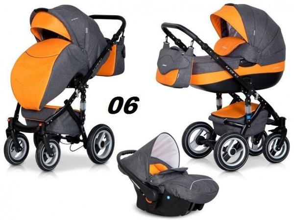 wózek wielofunkcyjny  BRANO  3w1 ( gondola + spacerówka + fotelik ) RIKO  + megadodatki