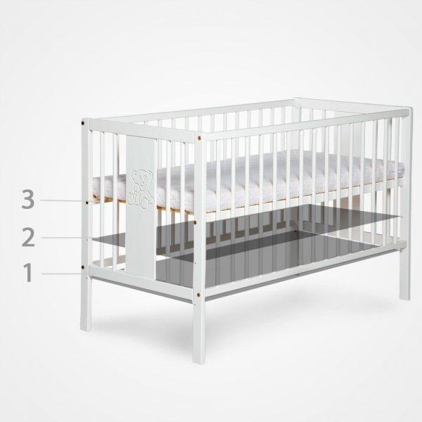 łóżeczko RADEK II 120/60 sosna, białe ( opcja szuflada) KLUPŚ