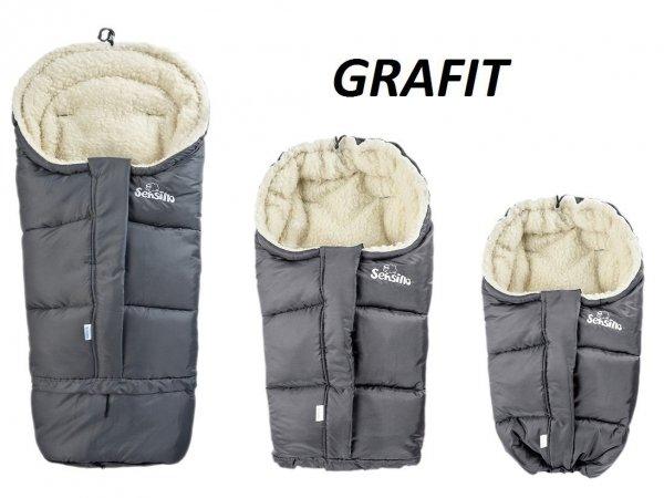 Śpiworek regulowany 4w1 do wózka . fotelika i na sanki WEŁNA Sensillo  GRAFIT/GRAPHITE
