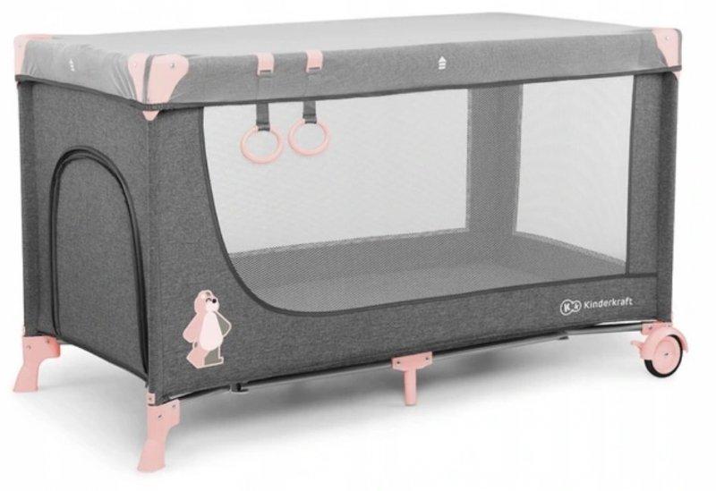 Łóżeczko turystyczne JOY Pink ( uchwyty , moskitiera , torba )  Kinderkraft