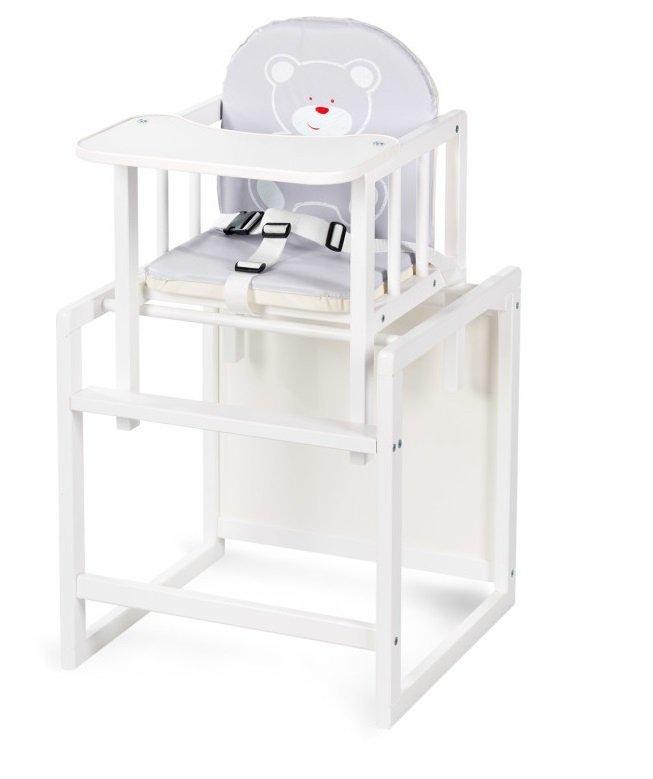 krzesełko AGA BIAŁE tapicerka szara KLUPŚ ( KOD C1)