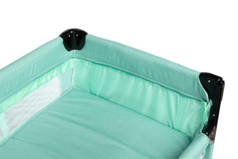 Łóżeczko turystyczne ESTI kolor MINT z funkcją dostawki ( opuszczany bok) + materac , torba Caretero