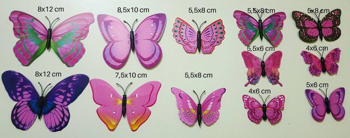 Motylki Motyle 3d ścianę Magnes Pvc 12 Montaż
