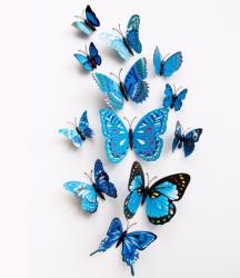 MOTYLKI MOTYLE 3D ŚCIANĘ PVC MAGNES 12 MONTAŻ Niebieskie