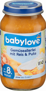Babylove Bio Indyk z Ryżem i Warzywami 8m 220g