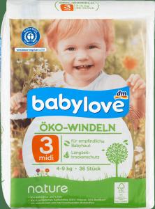 Babylove Pieluszki Ekologiczne 3 Naturalne 4-9kg 36 sztuk