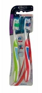 Elkos 2x Szczoteczka do zębów średnia Premium