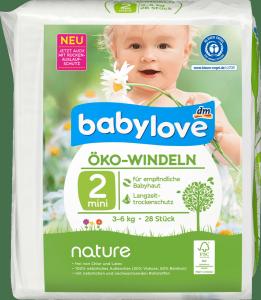 Babylove Pieluszki Ekologiczne 2 Naturalne 3-6kg 28 sztuk