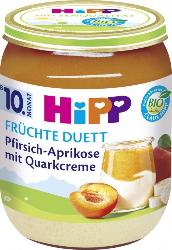 Hipp Bio Brzoskwinia Morela Banan Twarożek 160g 10m