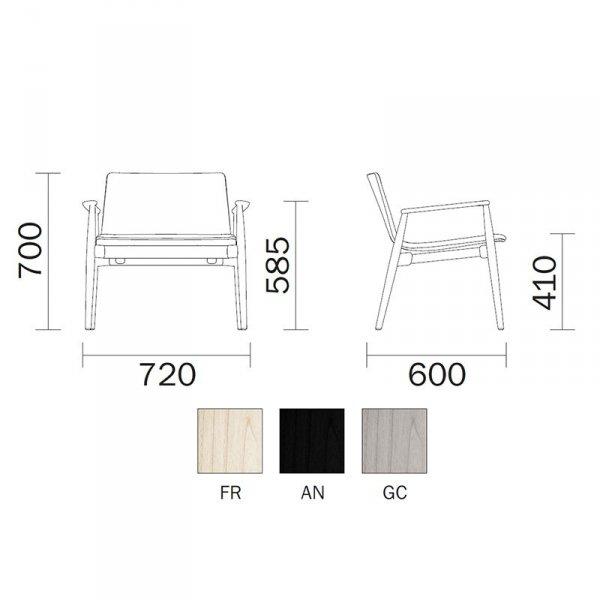 Nowoczesne krzesło drewniane Malmo 295 Pedrali