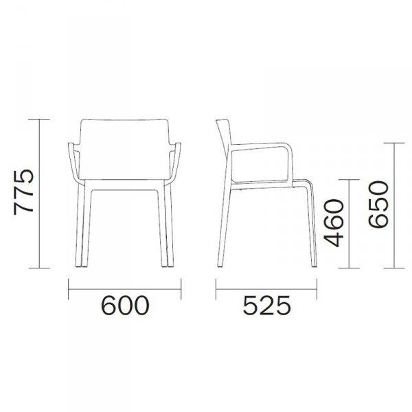 Designerskie krzesło Pedrali Volt 675 wymiary