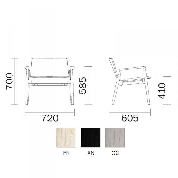 Desgnerski fotel Malmo 297 Pedrali wymiary