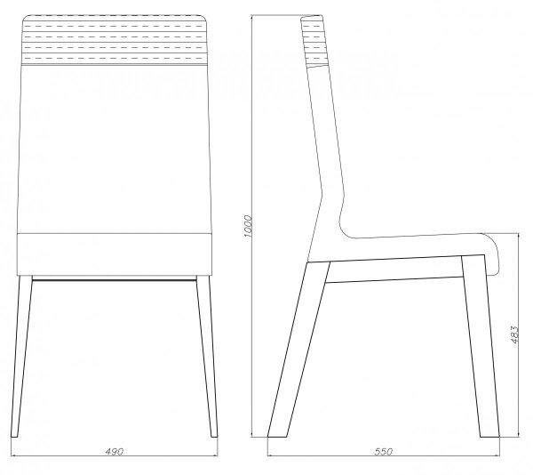 Krzesło dębowe wysokie Kyla Absynth dwukolorowe