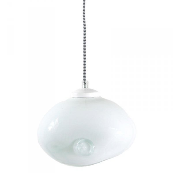 Lampa szklana Owal pastelowa biel Gie El