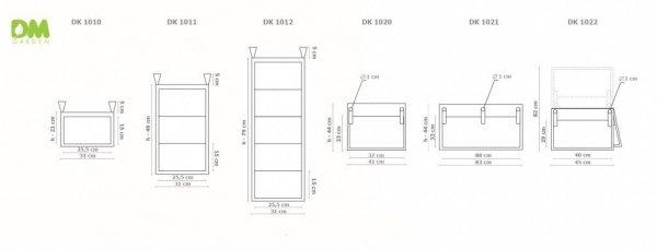 Donica kieszeniowa potrójna 31x49cm