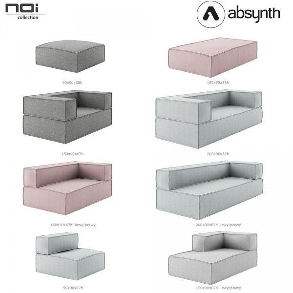Sofa 200x90x67 Noi Basic Absynth