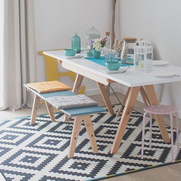 Piękne meble do jadalni w stylu skandynawskim z drewnianym stelażem Minko