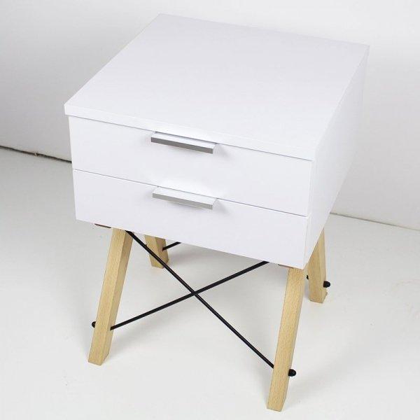 Stylowa szafka nocna Minko Double w kolorze białym