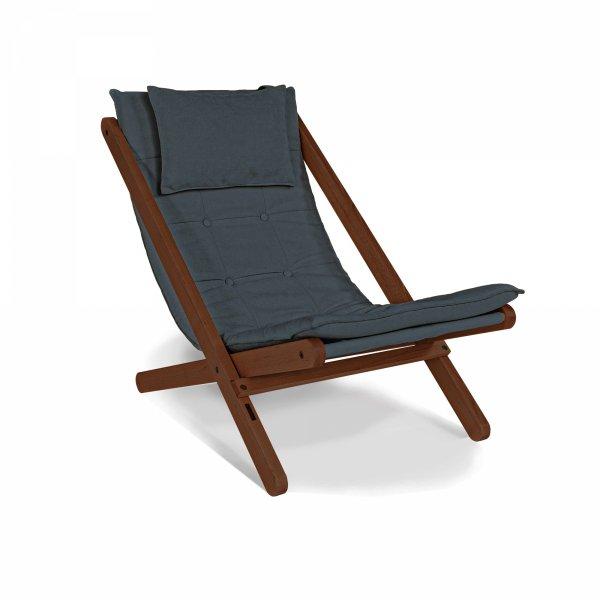 Allegro leżak z drewna naturalnego w kolorze orzecha-olej lniany/grafitowa poduszka Woodman