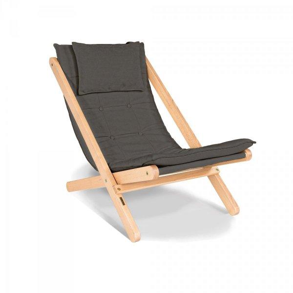Allegro leżak z drewna naturalnego lakierowanego/popielata poduszka Woodman