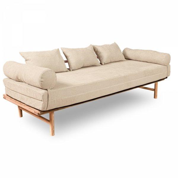 Le MAR Sofa rozkładana - surowe drewno kremowa Woodman