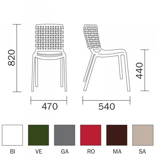 Nowoczesne krzesła do ogrodów Tatami 305 wymiary i kolory