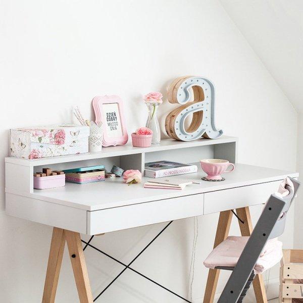 Stylowe biurko dziecięce Minko Basic z nadstawką w pięknych kolorach do wyboru